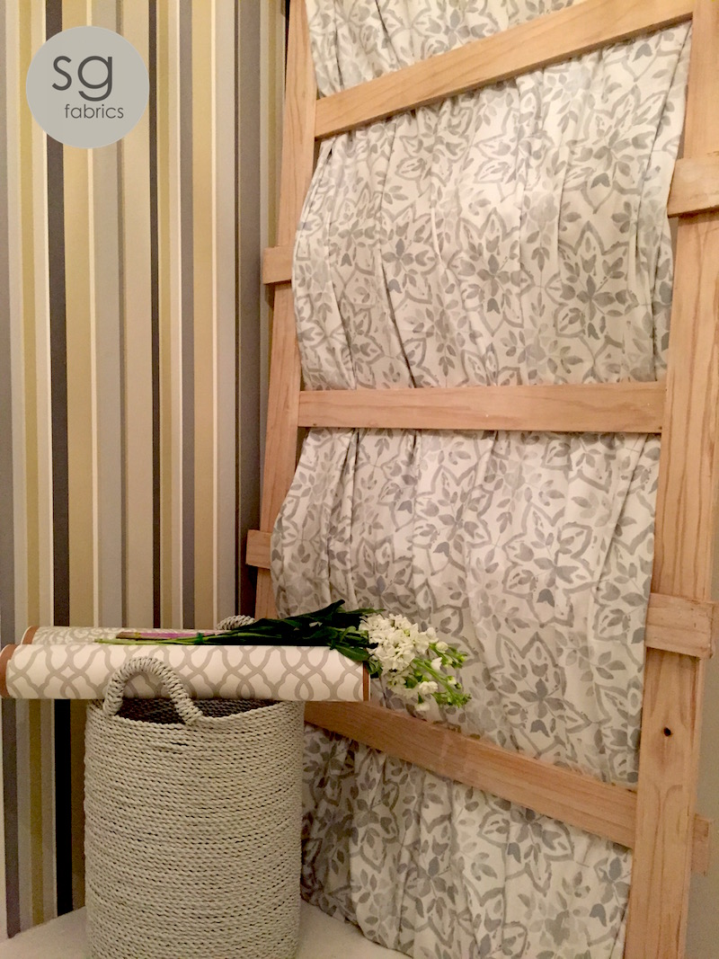 Wallpaper | Design Edition | Colour - String    Fabric on trellis | Soleil | Design Avignon | Colour - Pebble    Wallpaper Rolls | Range Maison | Design Imara | Colour Porcelain & Neo Design Morocco | Colour - Seagrass    Basket | by Incanda