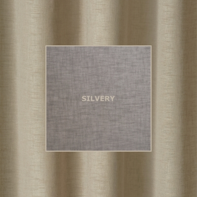 WILLOW SILVERY  285 x 218cm - standard tape - lined  285 x 250cm - standard tape - lined  230 x 220cm - eyelets - lined  230 x 252cm - eyelets - lined  100% Polyester
