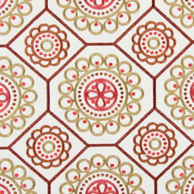 Mambo Tabasco   61% polyester/ 39% cotton    144cm (useable 129cm) |   415.5cm    Embroidery