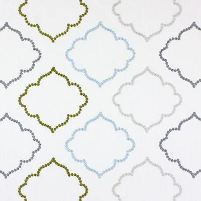 Karim Aqua  43% cotton/ 57% polyester  144cm (useable 131cm) | 15.5cm  Embroidery