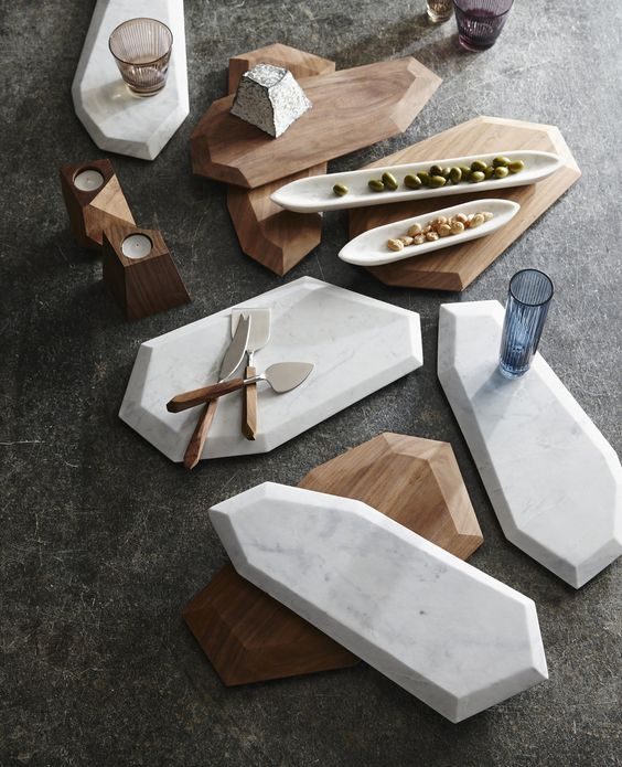 Even simple serving platters can't escape the trend. We love the shape of these faux marble platters.