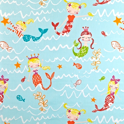 Mermaidia Aqua  100% Cotton  137cm wide | 64cm  Curtaining