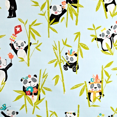 Panda Aqua  100% Cotton  137cm wide | 64cm  Curtaining