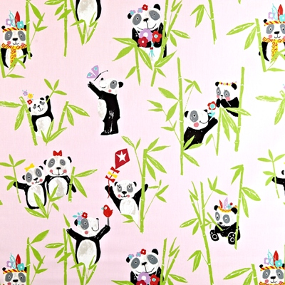 Panda Pretty Pink  100% Cotton  137cm wide | 64cm  Curtaining