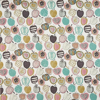 Apples Marshmallow  100% Cotton  140cm wide | 64cm  Curtaining & Accessories