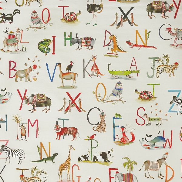 Animal Alphabet Fudge  100% Cotton  137cm | 96cm  Curtaining