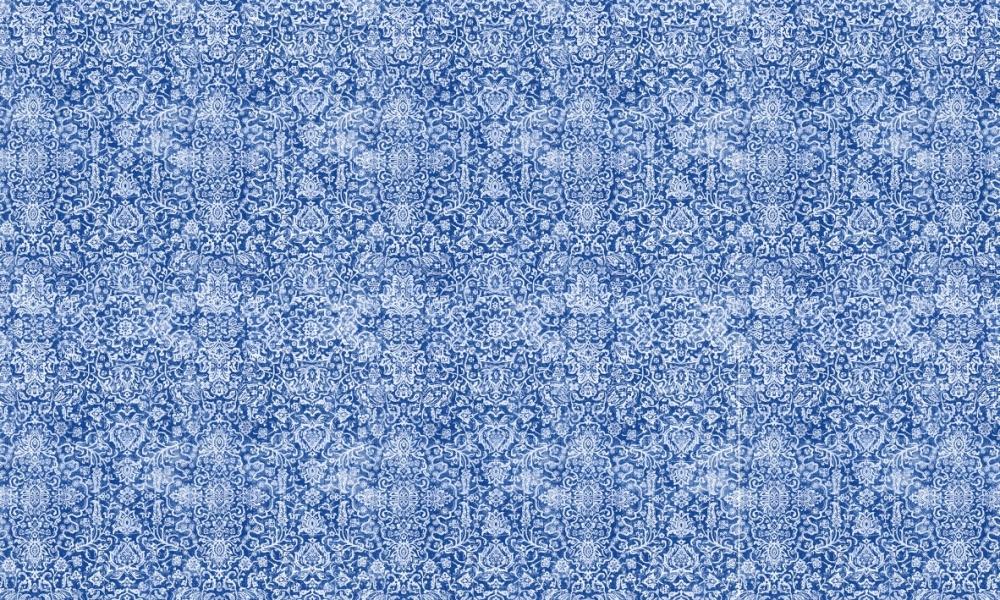 Arabesque Delft  100% Cotton  Approx. 280cm Drop (Railroaded)   V: 65cm H:70cm  Dual Purpose 20,000 Rubs