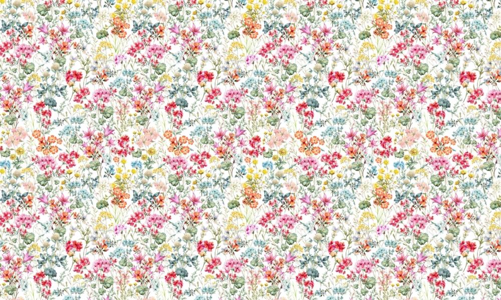 Floriana Spring  100% Cotton  Approx. 280cm Drop (Railroaded)   V: 65cm H:40cm  Dual Purpose 20,000 Rubs