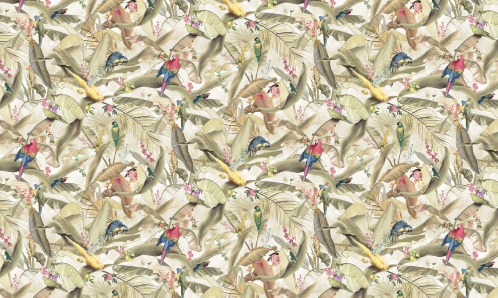 Macaw Parchment  100% Cotton  Approx. 280cm Drop (Railroaded)   V: 66cm H:55cm  Dual Purpose 20,000 Rubs