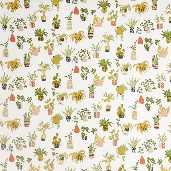 Pot Plants Coral  100% Cotton  Approx. 137cm | 32cm  Curtaining