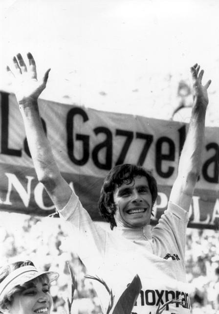 Giovanni Battaglin taking first at the 1981 Giro d'Italia.