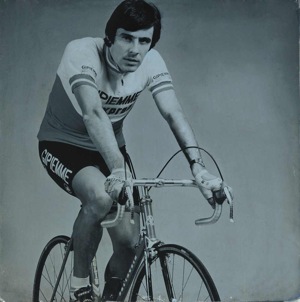 Giovanni Battaglin on his namesake steel bicycle, 1984