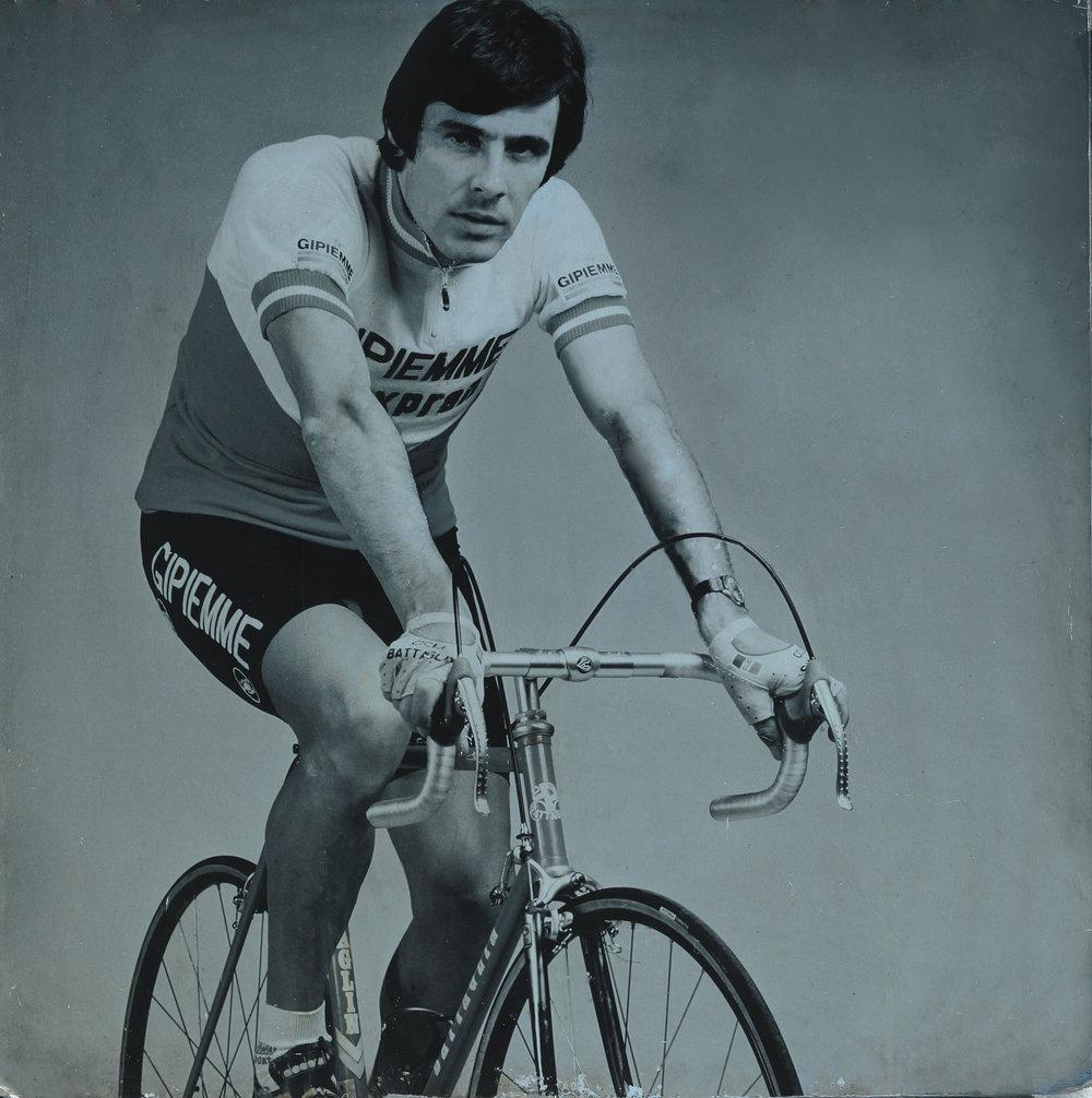 Giovanni Battaglin on his namesake steel bicycle, 1984