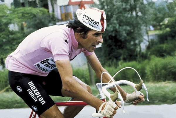 Giovanni Battaglin riding with the pink jersey in 1981