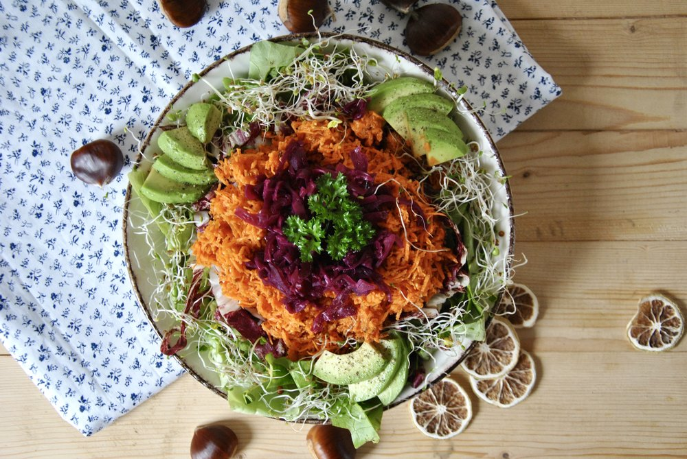 Healthy Skin Autumn Salad w/ Raw Carrot Salsa & Sauerkraut