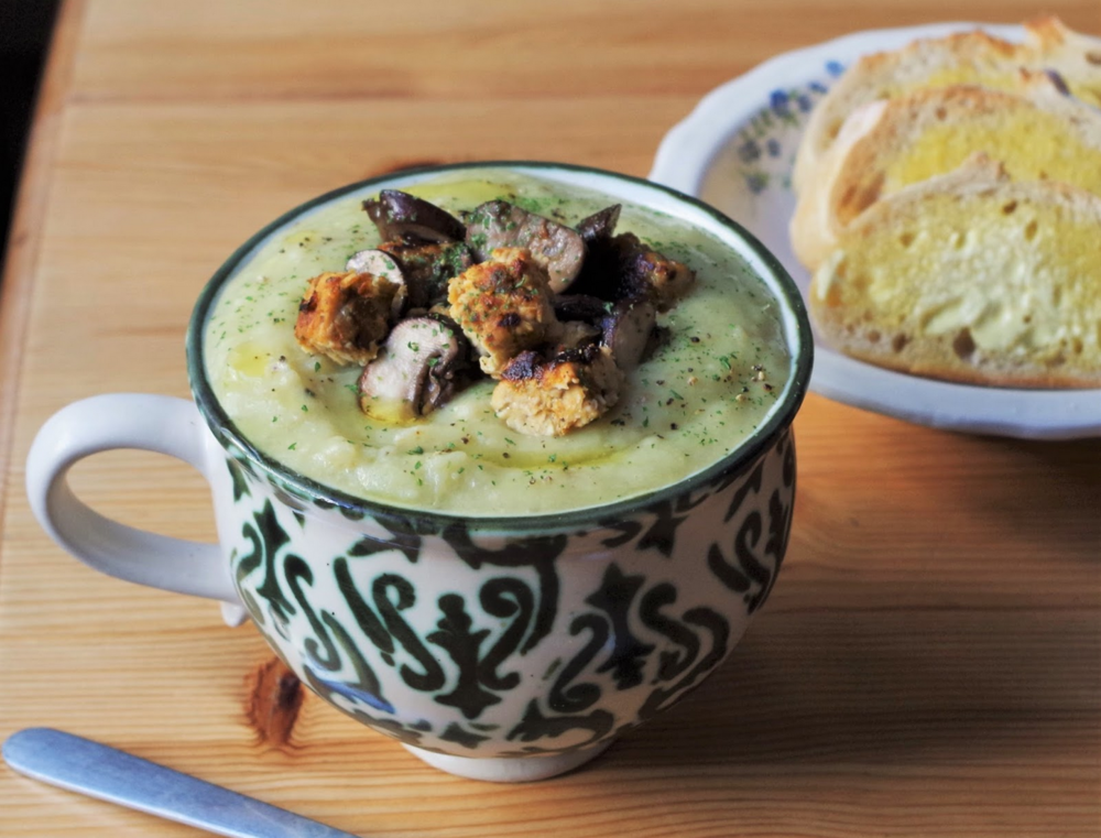 Roasted Celeriac Soup w/ Sun-Dried Tomato Tempeh