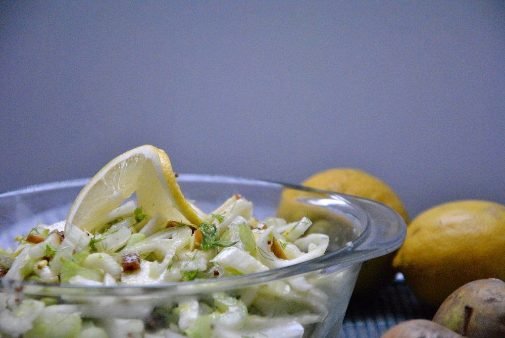 Fennel Fig Salad w/ Wild Apples & Citrus Dressing (Raw Vegan)