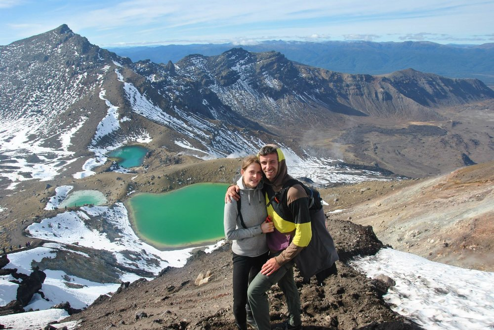 At the top of the Tongariro Alpine Crossing in New Zealand, 2014
