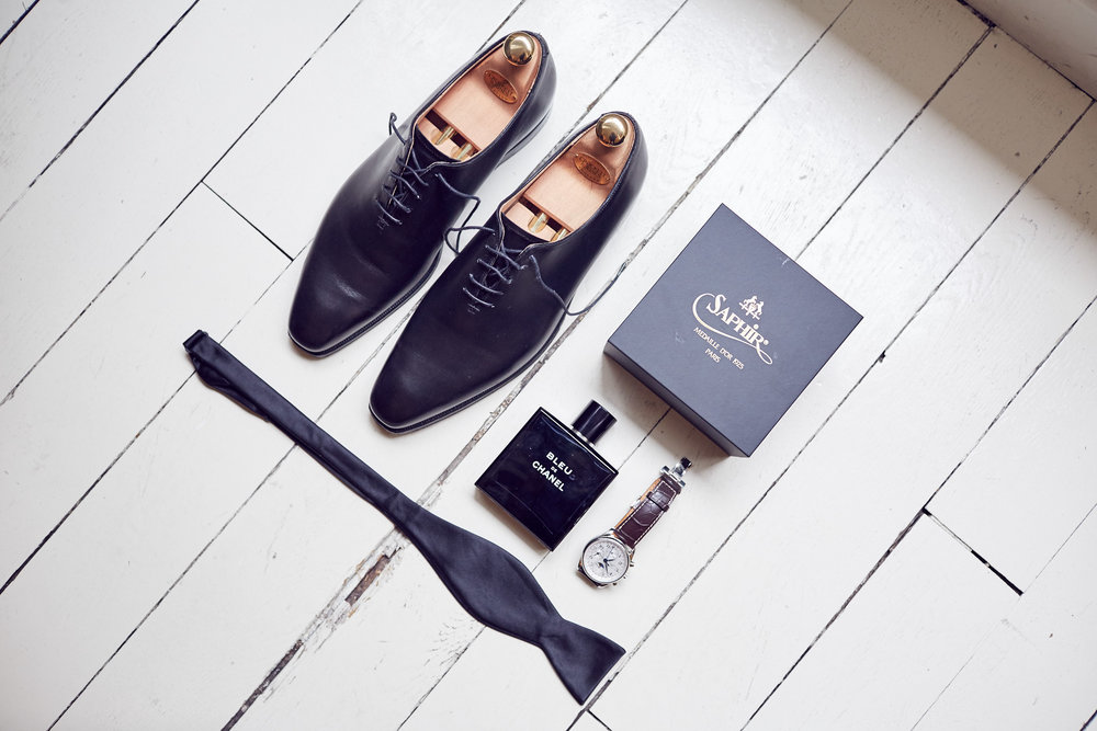 Hand made  Crockett + Jones  shoes, Chanel cologne & longines timepiece & simple black bow tie.
