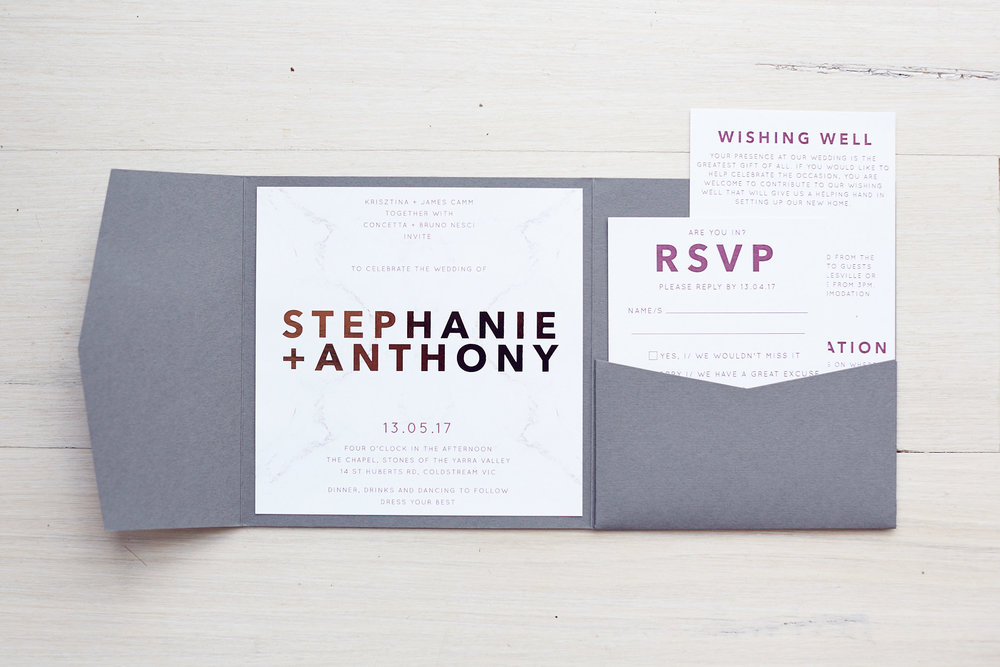 stones of the yarra valley wedding invitation