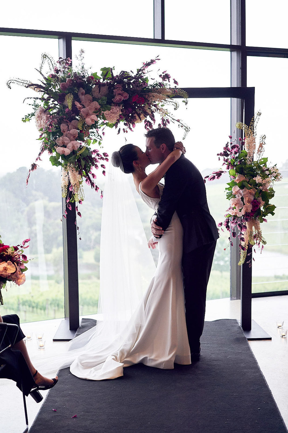 J & S Port Phillip Estate Wedding by Lost In Love Photography. #firstkiss