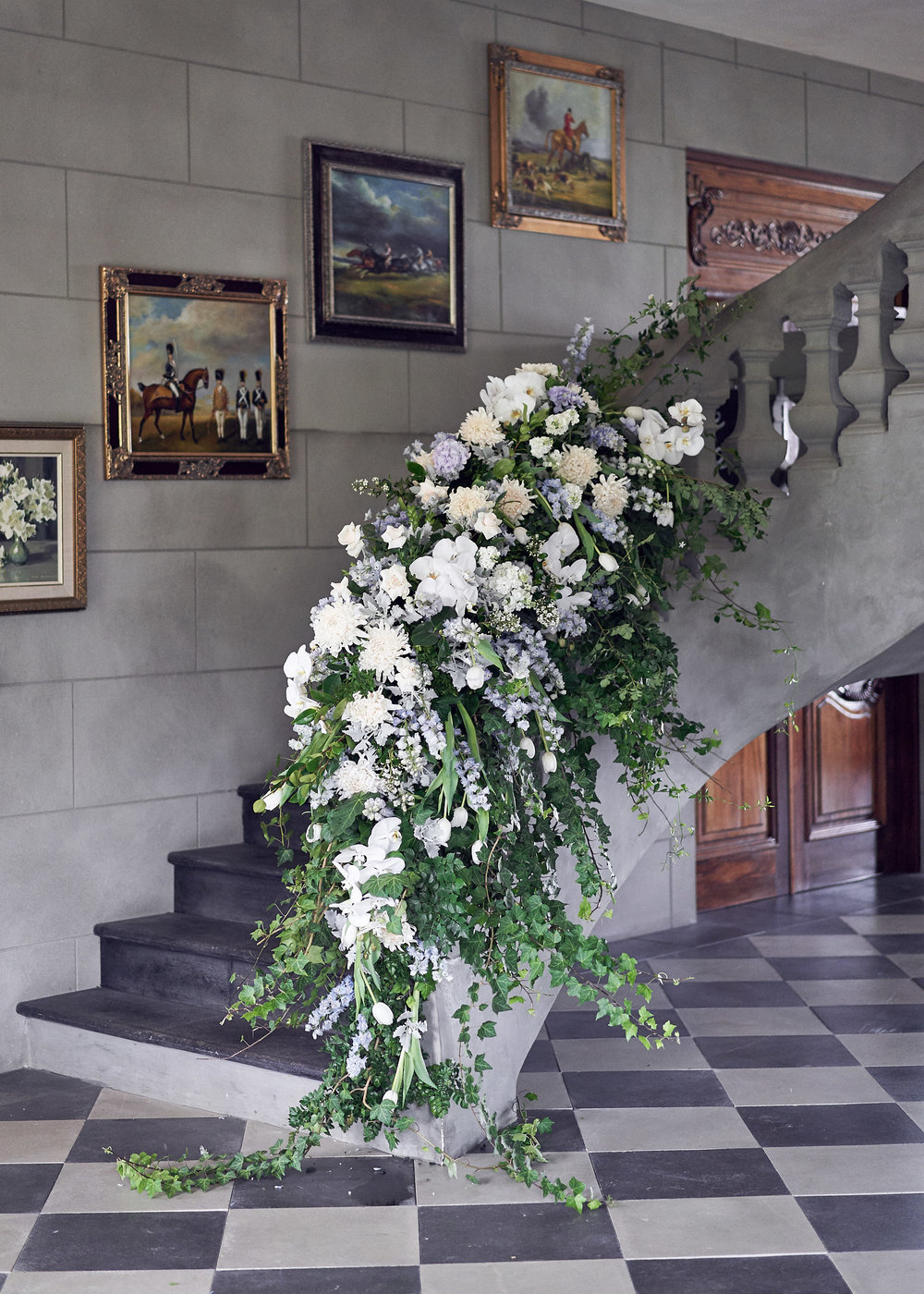 classic and chic wedding floral staircase Campbell point house by lost in love photography