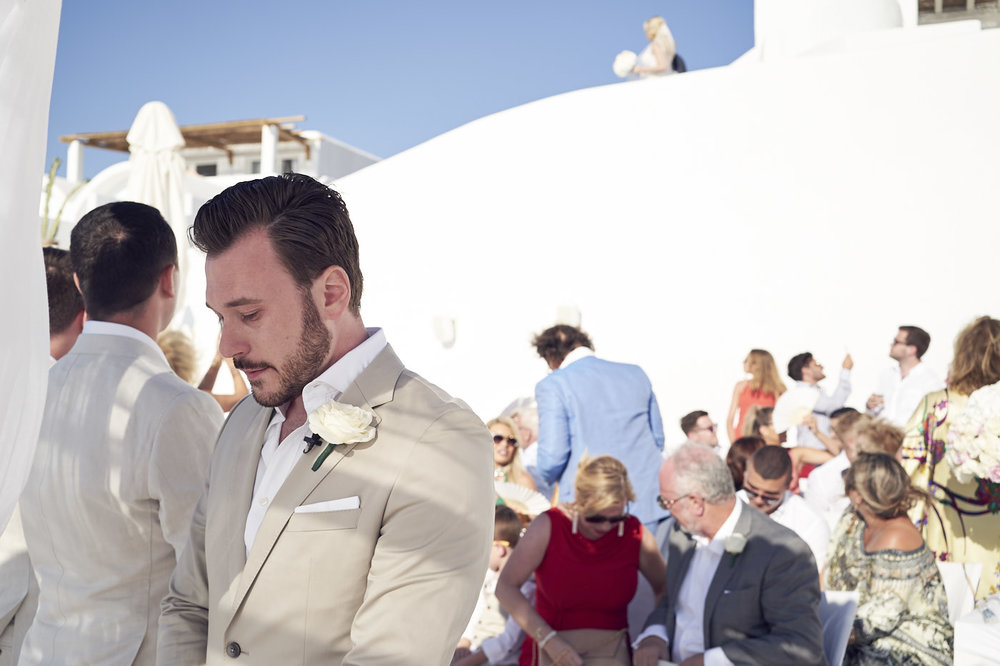 Beautiful Santorini Wedding. Groom. Lost In Love Photography