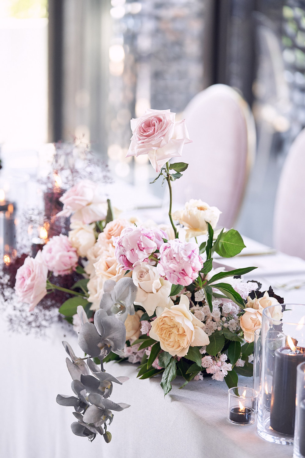 wedding styling inspiration. Pink velvet chairs. Photo by Lost In Love Photography