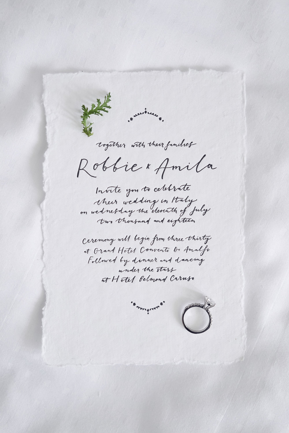 Intimate wedding Amalfi Coast Invitation