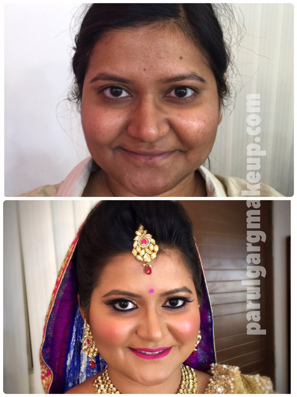 Airbrush Bridal Makeup before/after by Parul Garg