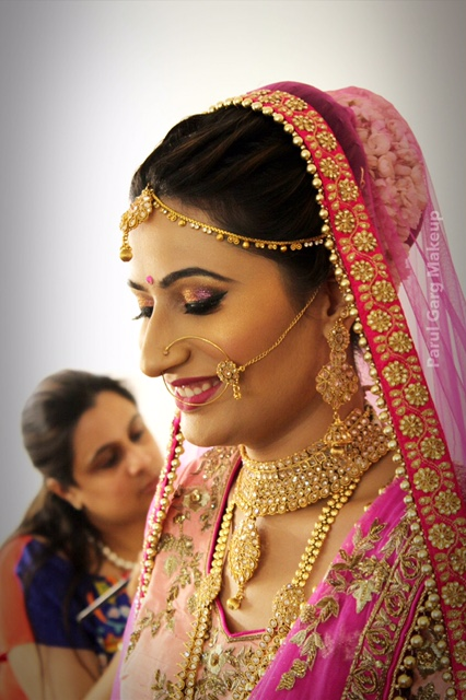 Beautiful Bridal Makeup in Pink and Gold by Parul Garg
