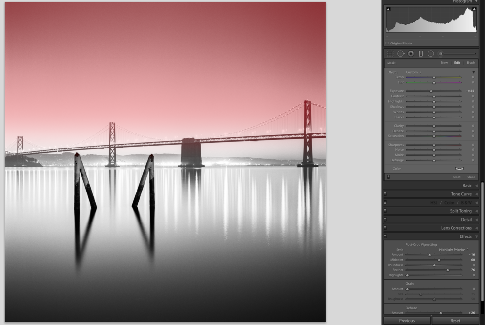 Use the graduated filter tool for a subtle edge darkening effect.
