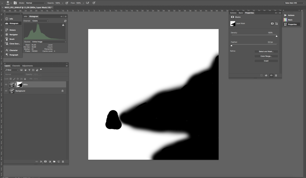 Masking the areas of the image that contain high frequency detail with a layer mask and a soft brush.