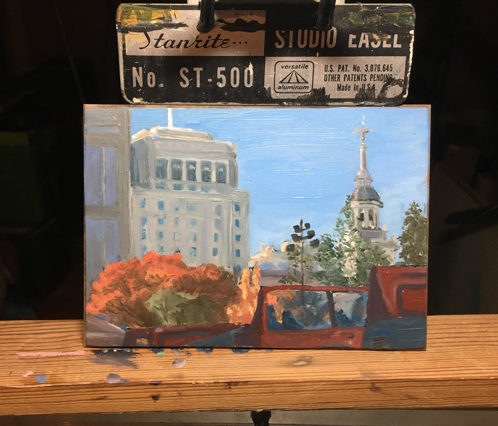 "5"" by 7"" oil painting of Center City Philadelphia, PA in November"