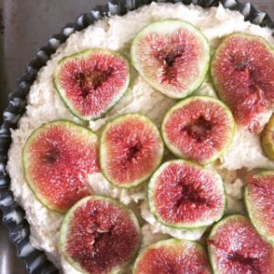 topped with figs, Just before baking