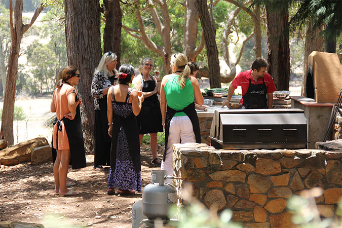 Wildwood Valley Cooking School: Carlo at the wood fired oven in Yallingup, Australia