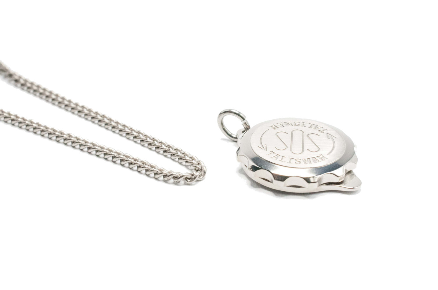 chain back talisman on titanium pendant plain front sos