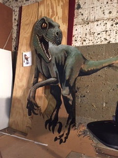 Here's the CT Science Center dinosaur, almost ready. This will be a standee you can pose with in a picture. Grrrrrr!