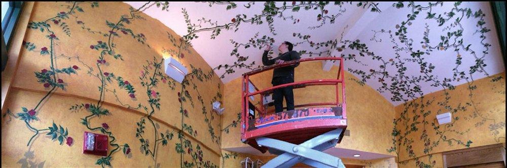 Pond House Cafe, Elizabeth Park, West Hartford. Homage to the Rose Vines mural.