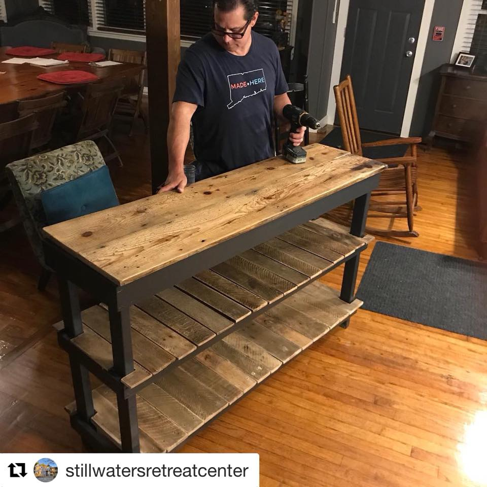 Handcrafted buffet table made from pallet wood and floor boards from the 1730 house at  Still Waters Retreat Center . Commissionable at custom sizes starting at $750.