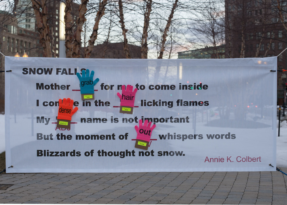 FRIGID PHRASES A game of outdoor mad libs poetry played with gloves, developed with Emily Lombardo for the Rose Kennedy Greenway, Boston; Feb. 20, 2013. More on the FRIGID PHRASES blog and on Twitter @FrigidPhrases. All images (C) Connie Sawyer.
