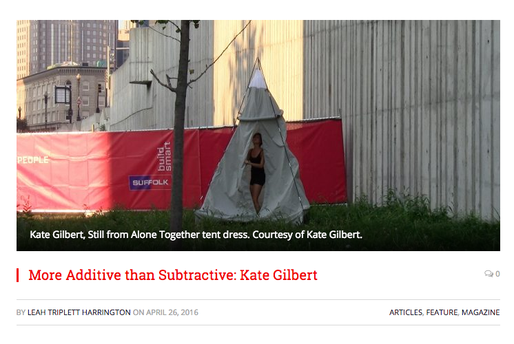 More Additive than Subtractive: Kate Gilbert by Leah Triplett Harrington was published April 26, 2016 for Big Red & Shiny online magazine.