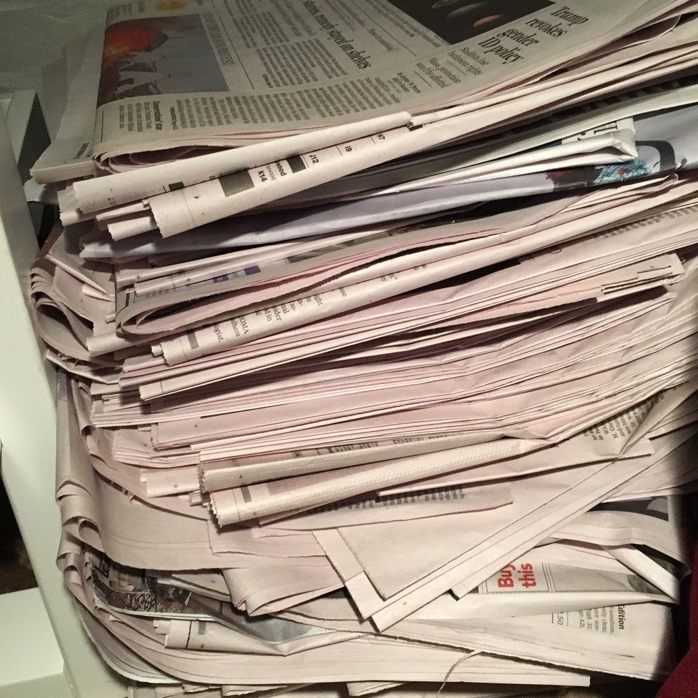 This is one month's worth of Friday, Saturday and Sunday issues of the Boston Globe and New York Times. One step away from hoarding?