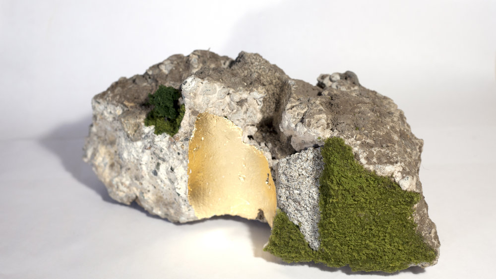 SIDEWALK SERIES AND PARKING LOT SERIES   2015-2016. Found concrete and asphalt, model scenery and gold leaf.