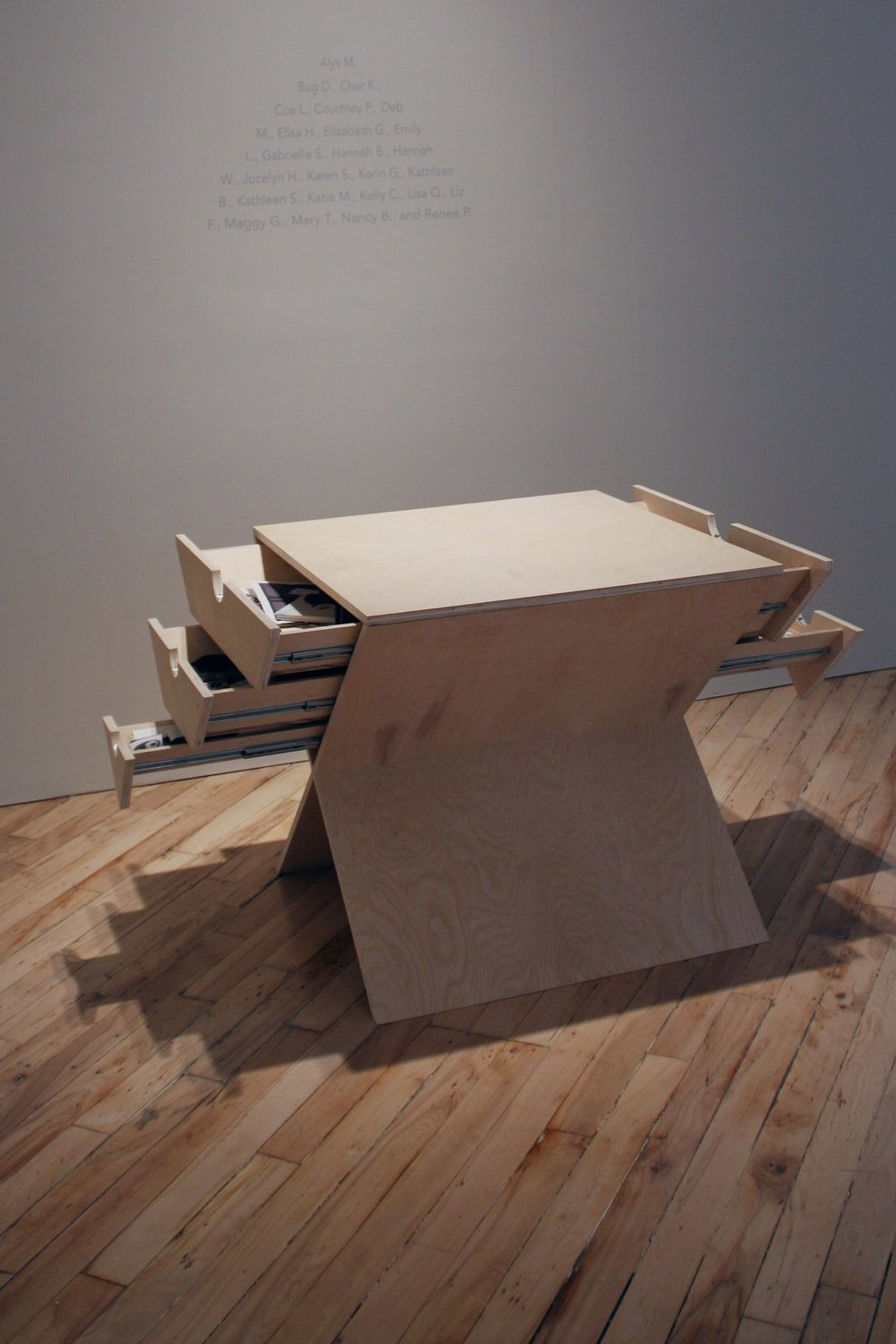 OBJECTS OF COMFORT   2013. Custom-designed table with drawers and participant objects representing Maslow's Hierarchy of Need.