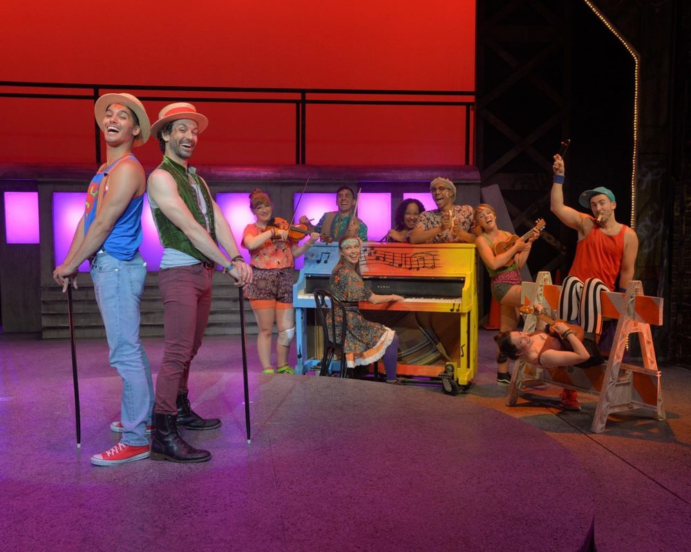Cast of Godspell, WBT (3rd from left, playing violin)