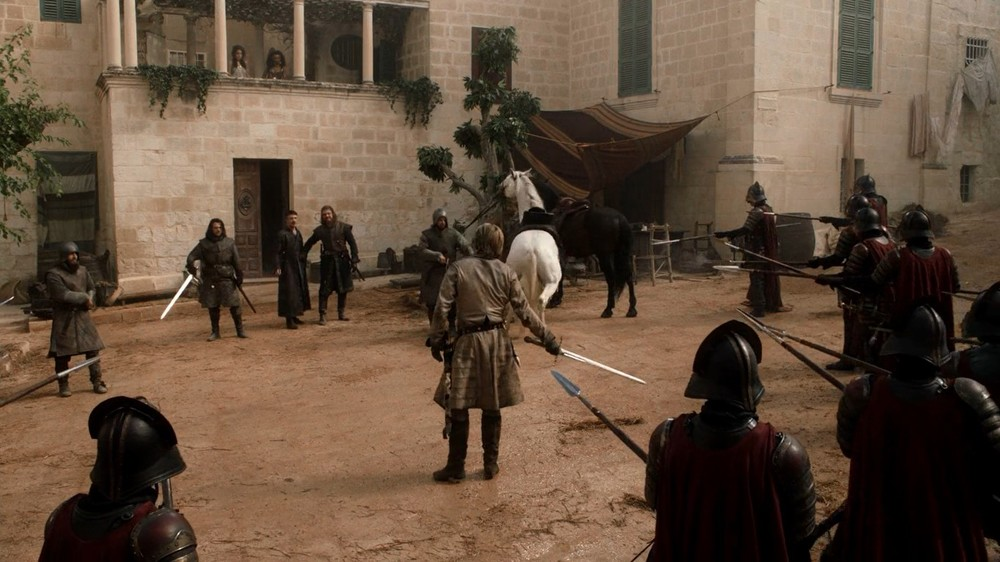 Jaime Lannister challenges Lord Stark to release Tyrion or else.