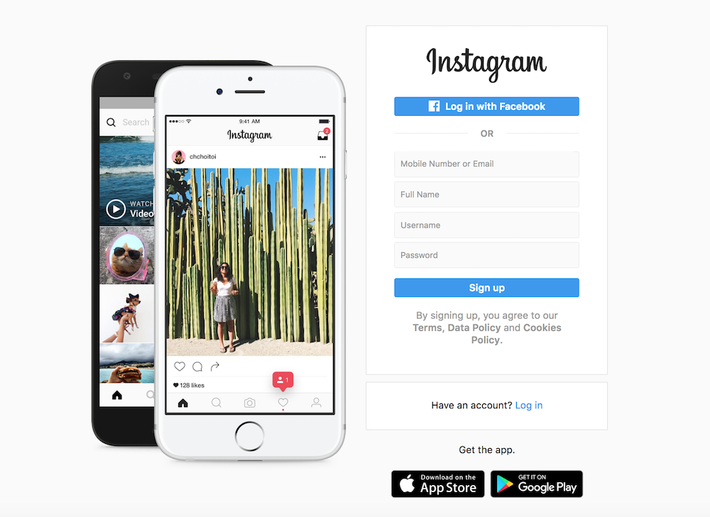 A screenshot of the Instagram website login page.