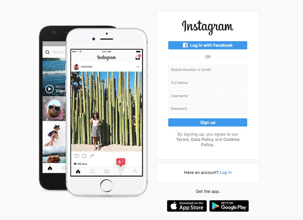 A screenshot of the Instagram website login page.