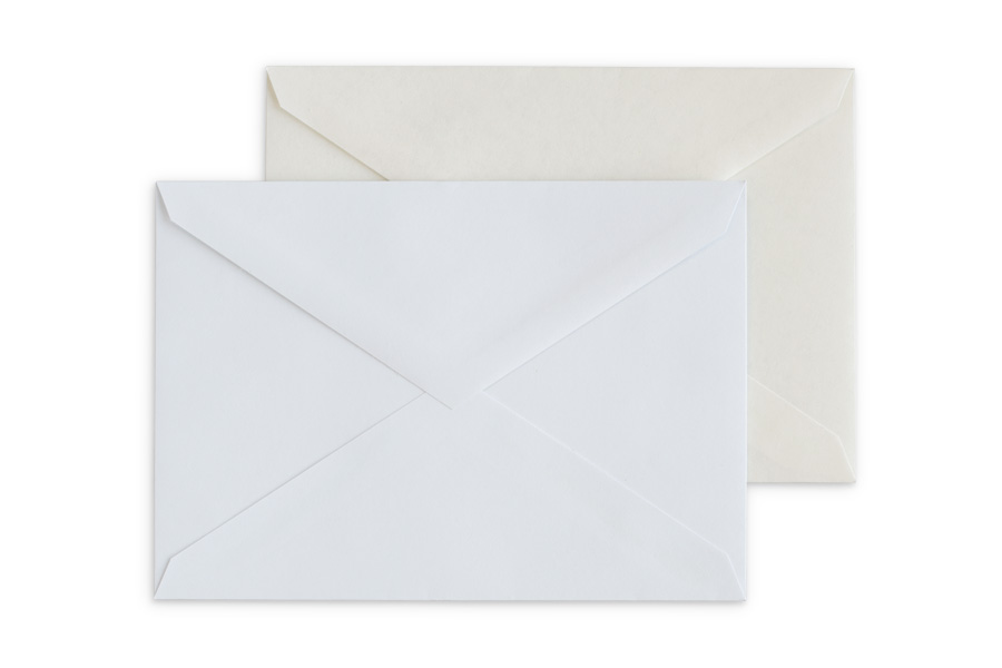 Included: White or Parchment envelopes with a V-flap.